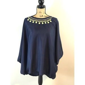 Navy Blue Lane Bryant Blouse with Embezzlements